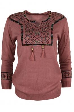 Дамски пуловер 136-8 пепел от рози