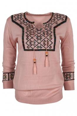 Дамски пуловер 136-8 розов
