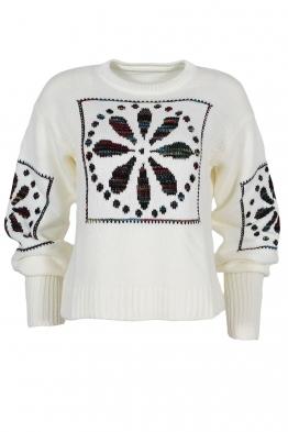Дамски пуловер 1509-11 бял