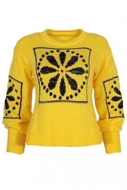 Дамски пуловер 1509-11 жълт