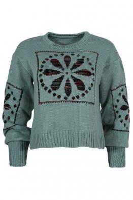 Дамски пуловер 1509-11 резида