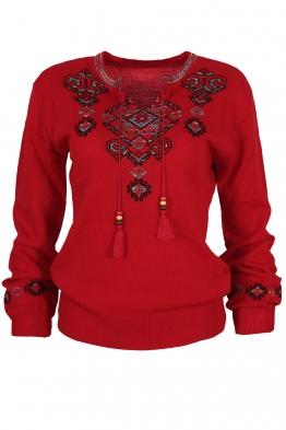 Дамски пуловер 169-8 червен