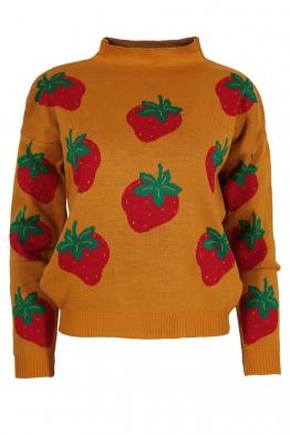 Дамски пуловер 6009-85 горчица