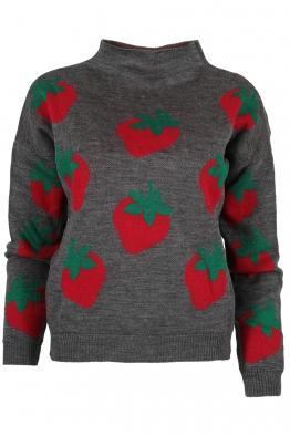 Дамски пуловер 6009-85 сив
