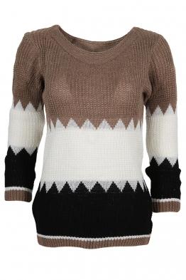 Дамски пуловер TRIO A-1 капучино, бяло, черно