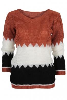 Дамски пуловер TRIO A-5 брик, бяло, черно