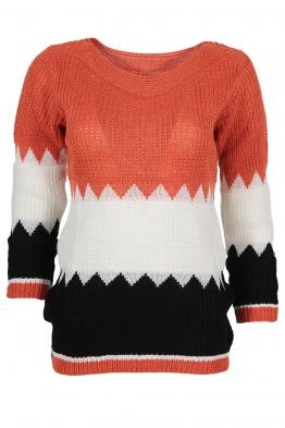 Дамски пуловер TRIO A-2 керемида, бяло, черно