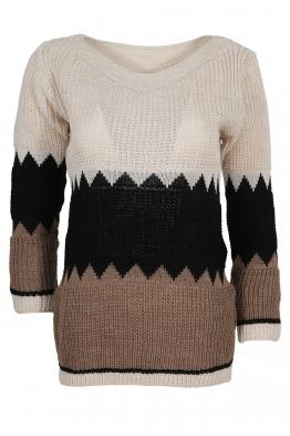 Дамски пуловер TRIO A-4 бежово, черно, капучино