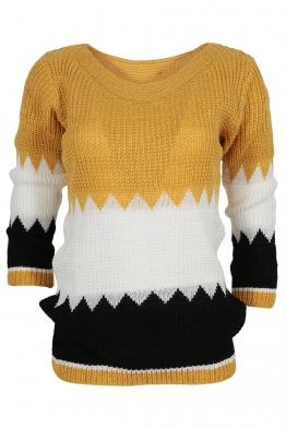 Дамски пуловер TRIO A-6 горчица, бяло, черно