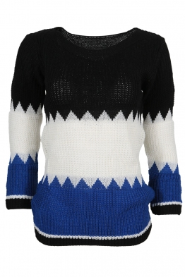 Дамски пуловер TRIO A-7 черно,бяло,кралско синьо