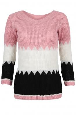 Дамски пуловер TRIO A-8 розово, бяло, черно