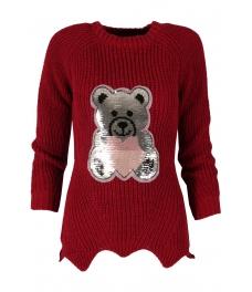 Дамски пуловер ТЕДИ БЕАР винено червен