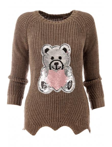 Дамски пуловер ТЕДИ БЕАР капучино