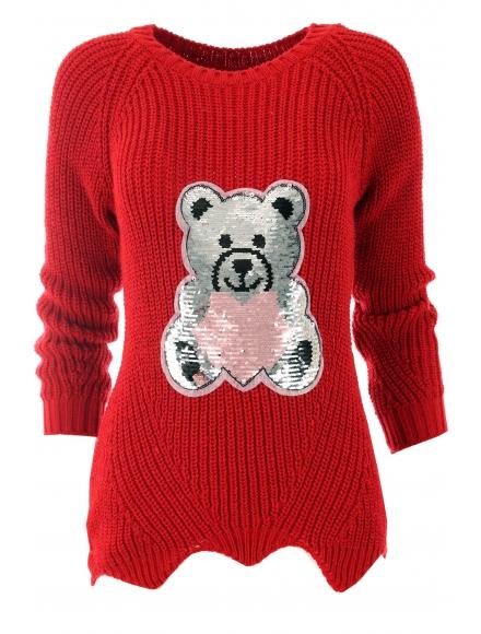 Дамски пуловер ТЕДИ БЕАР червен