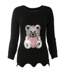 Дамски пуловер ТЕДИ БЕАР черен