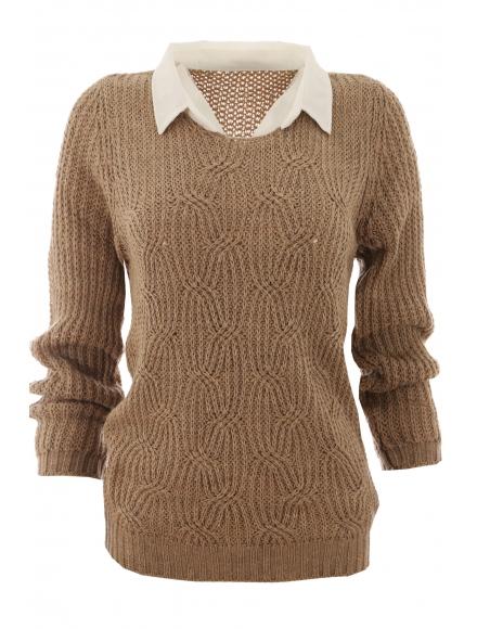 Дамски пуловер с яка Вижън B-1 бежов