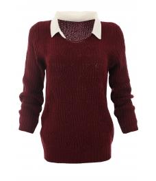Дамски пуловер с яка Вижън B-1 бордо