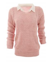 Дамски пуловер с яка Вижън B-1 розов