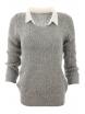 Дамски пуловер с яка Вижън B-1 сив
