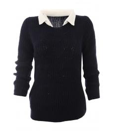 Дамски пуловер с яка Вижън B-1 тъмно син