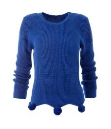 Дамски пуловер 442 с помпони кралско син