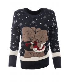 Дамски пуловер Christmas А-1 тъмно син