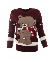 Дамски пуловер Christmas А-2 бордо