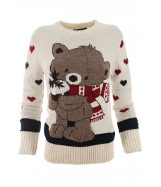 Дамски пуловер Christmas А-2 бял