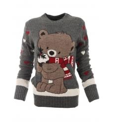 Дамски пуловер Christmas А-2 сив