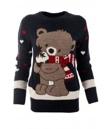 Дамски пуловер Christmas А-2 тъмно син