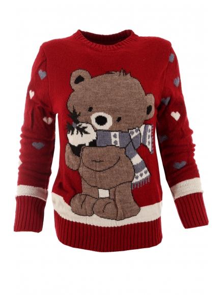 Дамски пуловер Christmas А-2 червен