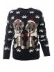 Дамски пуловер Christmas А-3  тъмно син