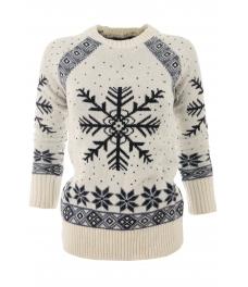Дамски пуловер Christmas А-4 бял