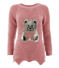 Дамски пуловер ТЕДИ БЕАР розов