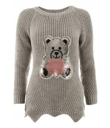 Дамски пуловер ТЕДИ БЕАР сив
