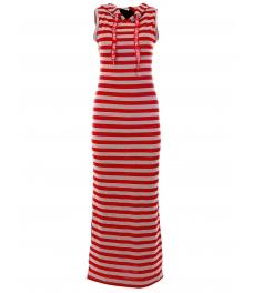Дълга рокля с качулка НОА сиво-червено райе