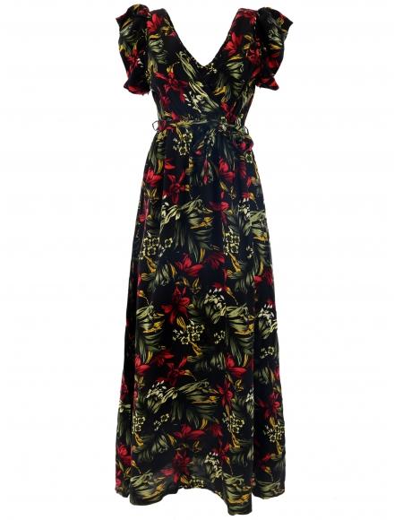Дълга рокля на цветя КАРОЛИН А-3