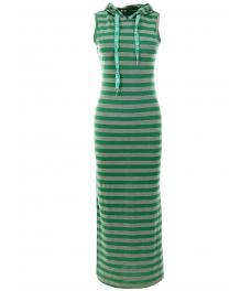 Дълга рокля с качулка НОА сиво-зелено райе