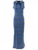 Дълга рокля с качулка НОА сиво-синьо райе