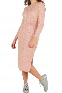Плетена рокля 309 розова