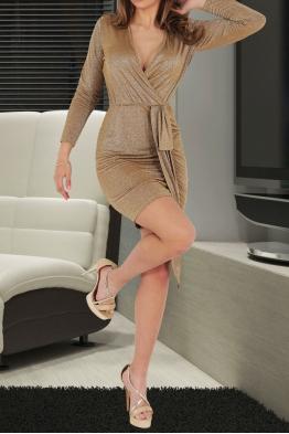 Къса дамска рокля BAMBINA бежова