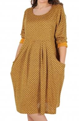 Свободна дамска рокля CARINA горчица на точки