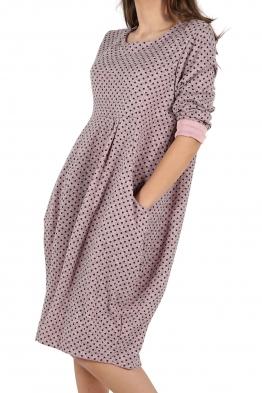 Свободна дамска рокля CARINA розова на точки