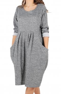 Свободна дамска рокля CARINA сива на точки