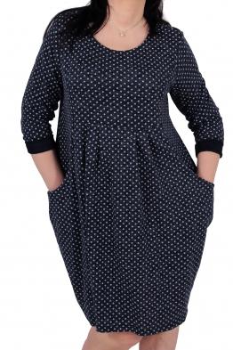 Свободна дамска рокля CARINA тъмно синя на точки