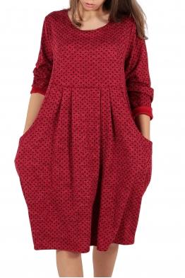 Свободна дамска рокля CARINA червена на точки