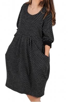 Свободна дамска рокля CARINA черна на точки