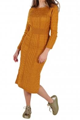 Плетена рокля Опра 308 горчица