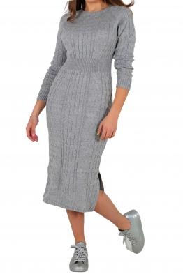 Плетена рокля 308 сива