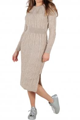 Плетена рокля 309 бежова
